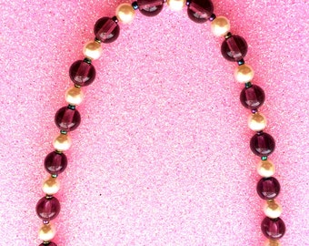 Purple and Pearl Necklace Glass and Rocaille Classic Elegant 16 inch-Ladies Jewellery-Handmade Necklace-Gifts for Women-Handmade Jewellery