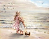 "beach  painting, Girls decor, sisters, kids art, sea, daughters  ""The Ocean's Lullaby"" Laurie Shanholtzer Canvas or paper print"