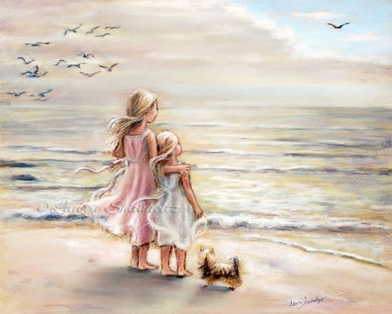 """beach  painting, Girls decor, sisters, kids art, sea, daughters  """"The Ocean's Lullaby"""" Laurie Shanholtzer Canvas or paper print"""