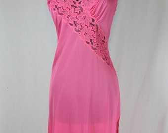 Vintage Aristocraft Full Slip Nightgown Hot Pink 32