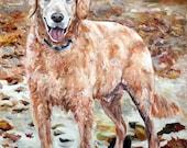 Custom Pet Portrait Oil Painting commissioned 24x30 Pet Memorial Birthday Gift