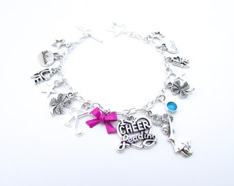 Cheerleading Charm Bracelet, Cheer Bracelet, Cheerleader Gifts, I Love Cheering