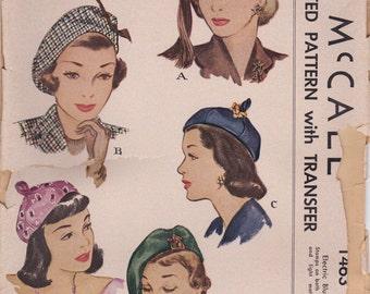 Lovely 1940s Hat Pattern McCall 1463 Uncut FF
