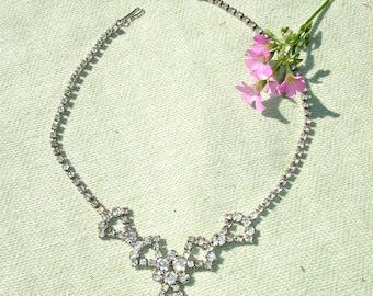 1950's Bright Rhinestone Necklace - FREE Shipping
