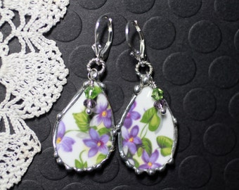 Earrings, Broken China Jewelry, Broken China Earrings, Purple Violets, Sterling Silver, Soldered Jewelry