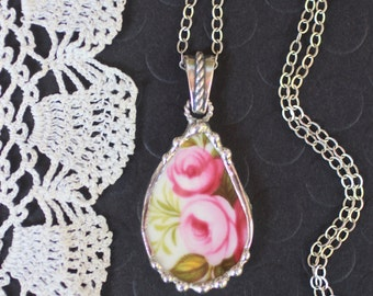 Necklace, Broken China Jewelry, Broken China Necklace, Pink Roses, Sterling Silver, Soldered Jewelry
