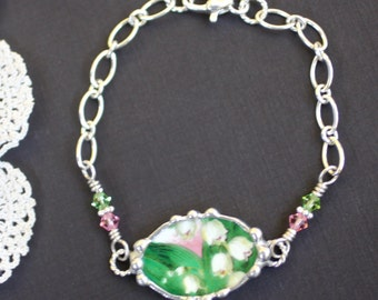 Broken China Bracelet, Broken China Jewelry, Lilly of the Valley, Sterling Silver Chain, Soldered Jewelry