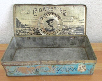 Players Navy Cut Cigarettes Vintage Tin Nottingham Castle Trademark Imperial Tobacco Co Canada
