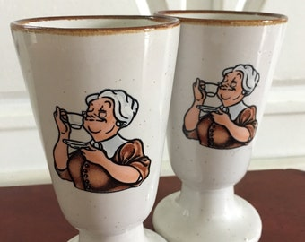 Coffee mugs. Set of two vintage coffee cups with French grand-mother
