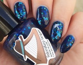 Morid Hageshem (mini size & full size) Blue glitter jelly with holo flash indie polish by Fedoraharp Lacquer