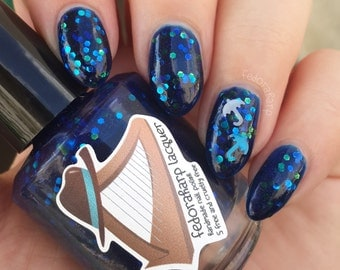 Morid Hageshem (mini size & full size) Blue glitter jelly with holo flash indie polish by Fedoraharp Lacquer