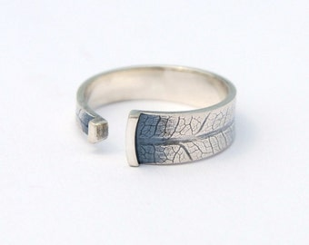 Leaf wrap open band - sterling silver band with leaf texture