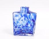 Vintage Cobalt Blue Spatter Glass Hand Blown Art Glass Bottle Czech Glass Bud Vase Apothecary
