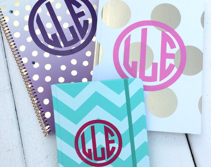 Monogram Decal Small Monogram Back to School Folder Decal Notebook Decal Agenda Monogram Binder Monogram Personalized Preppy Vinyl Decals