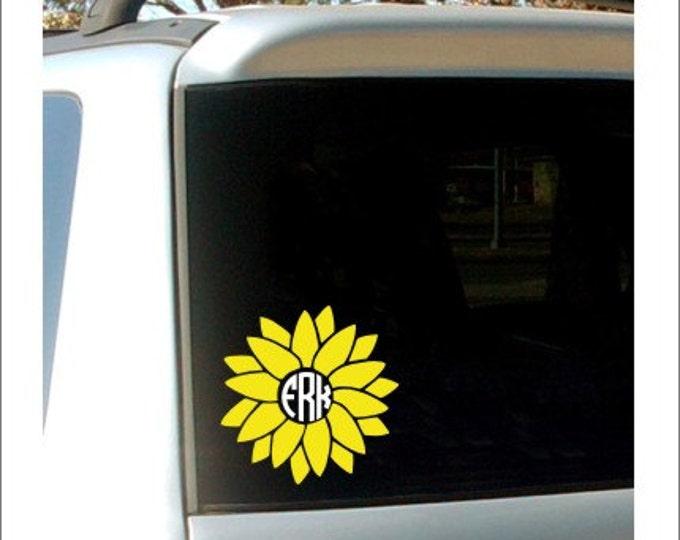 Sunflower Monogram Decal Vinyl Decal Sunflower Vinyl Decal Car Decal Vinyl Car Decal Monogram Decal Preppy Decal Flower Decal Flower Vinyl