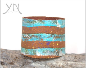 Women's Mint & Brown Leather Cuff | Wide Leather Bracelet | Unique Leather Accessories | Men's Women's Armband | Postage Stamp Cuff