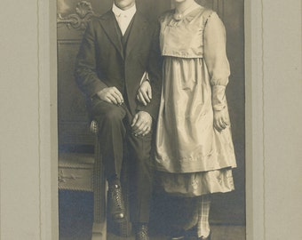 1920s Wedding Photo - young couple - high tops, patterned stockings, more