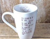 Big Labyrinth Mug, You Remind Me of the Babe, Jareth Tossing Toby, Goblins, David Bowie, 20 oz, Recycled Large Coffee Cup, Tea