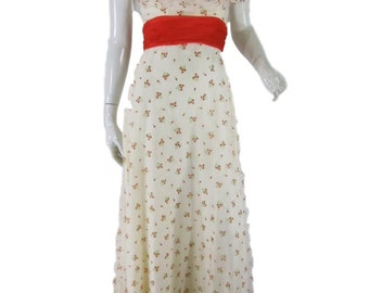 70s Off Shoulder Maxi Party Dress. Cream With Red Rosebud Print - sm