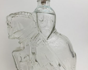 Vintage Horse and rider Decantor clear bottle Soldier going to War