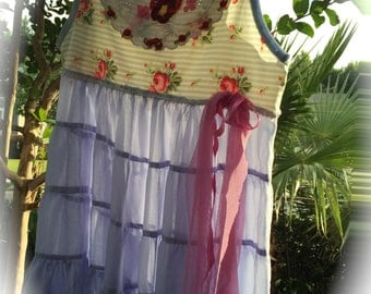 Rustic Romantic Summer Dress Ribbon Rose Shabby Chic Cowgirl Gypsy Rodeo Sweetheart