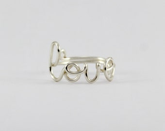 Wire Love Ring - Adjustable Fits Most Size - Fine Silver Plated Copper Wire