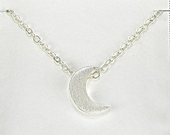 Silver Moon Necklace, Crescent Moon Minimalist Necklace, Simple Sterling Silver Moon Jewelry, Love And Friendship Necklace Y083