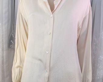 Vintage 80's Liz Claiborne Chemise line ivory satin silk blouse size 8