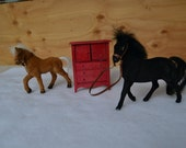 RESERVED for Meri Gallo spunkydivagirl, Miniature flocked horses and cabinet set, vintage 70's toys for kids gift animals brown black red
