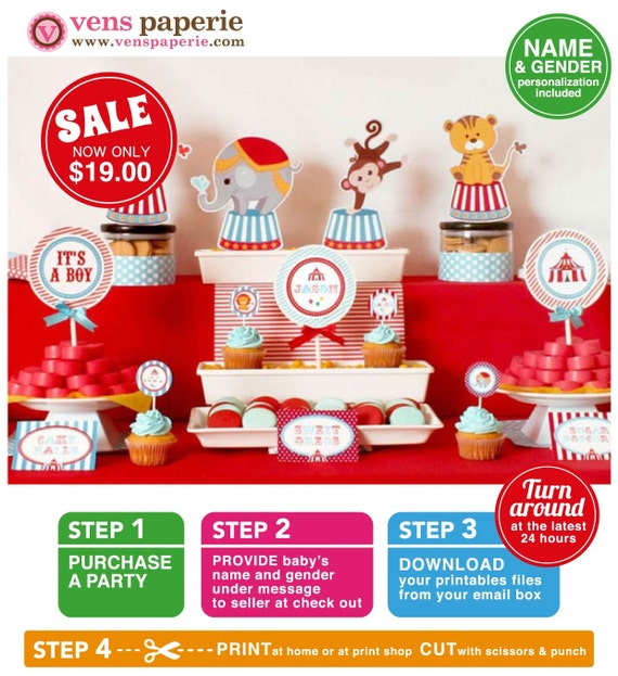 Vintage Blue Carnival Circus Baby Shower Package Personalized FULL Collection Set - PRINTABLE DIY - BS801CA1x
