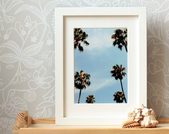 ON SALE framed art print palm tree print California wall art home decor Los Angeles art palm tree art summertime sky blue 6x8 ready to s