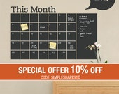 Monthly Calendar Decal - Chalkboard Decal - by Simple Shapes