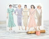 Size 14, 16, 18, Loose fitting dress w/ flared or straight skirt, pleated front, Vogue Basic Design (1846), Vintage 1980s Sewing Pattern