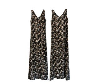 Vintage Long Floral Dress 90s Dress Button Up Dress Button Down Dress Boho Dress Sleeveless Dress 90s Floral Dress 90s Black Dress 1990s