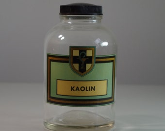 Vintage Apothecary Jar Pharmacy Bottle KAOLIN