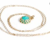 Aqua blue Ammonite gemstone necklace in solid 14K Gold - Yellow gold and baby blue necklace - princess crown setting necklace