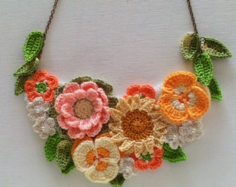 Floral Textile Necklace - Floral Necklace - Flower Necklace - Textile Necklace - Crochet Jewellery - Statement Necklace - Ready to Ship