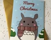 Cute Totoro Christmas Card