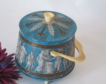 Vintage Roman Decorated Tin with Celluloid Handle, Knob and Feet.