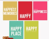 Printable Journaling Cards Quoted 1 Happiness for Scrapbook and Project Life INSTANT DOWNLOAD