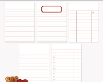Printable Journaling Cards Ledger Set 3 Pink for Scrapbook and Project Life INSTANT DOWNLOAD