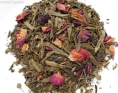 Organic Cherry+Rose Green Tea, CHERRY ROSE BLEND, Loose Leaf, Hand Blended, Caffeinated , Iced Tea, Floral tea, 2oz Earth Friendly Package