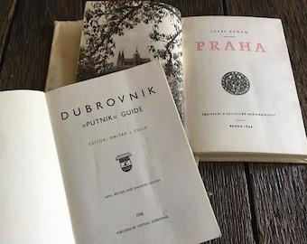 ON SALE - 2 Vintage Travel Guide Books - Praha Prague 1960 Zeman - 1958 Dubrovnik Putnik Croatia Guide By Dmitar J Culic - Maps and Pictures