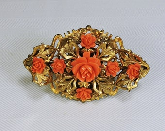 Vintage Rose Brooch Carved Coral Colored Roses in Gold tone setting