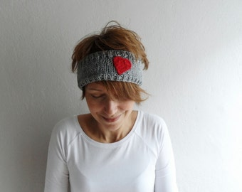 Knitted Headband with Heart, Knit Ear warmer, Knit Headwarmer, Head Wrap in Gray and Red