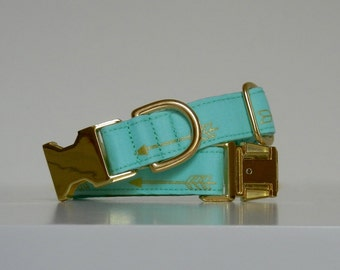 Aqua Turquoise Gold Metallic Arrows Dog Collar Wedding Accessories Made to Order