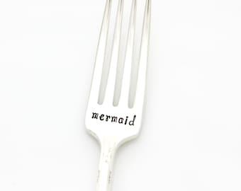 Mermaid. Hand Stamped Fork. Handstamped Silverware by Milk & Honey ®
