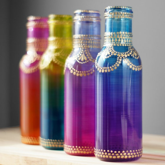 boho henna art vase ombre home gift glass bottle table decor. Black Bedroom Furniture Sets. Home Design Ideas