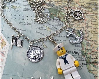 US Navy Lego Sailor necklace by Son and Sea FREE US shipping