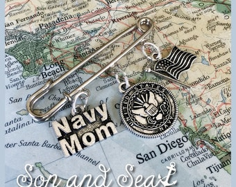 US Navy Mom pin by Sea Dream Studio free US shipping